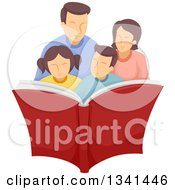 Clipart Of A Happy Caucasian Family Reading A Book Together Royalty Free Vector Illustration