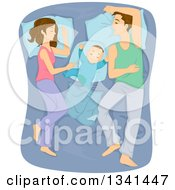 Clipart Of Caucasian Parents Sleeping By Their Toddler In A Bed Royalty Free Vector Illustration