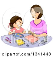 Clipart Of A Brunette Caucasian Mother And Daughter Making Books Together Royalty Free Vector Illustration