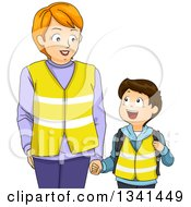 Clipart Of A Caucasian Mother Holding Hands With Her Son And Wearing Vests While Walking To The Bus Stop Royalty Free Vector Illustration