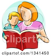 Clipart Of A Sketched Caucasian Mother Reading A Book To Her Son Royalty Free Vector Illustration