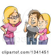 Clipart Of A Cartoon Caucasian Mother Grilling Her Teenage Daughters Boyfriend Royalty Free Vector Illustration