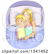 Clipart Of A Blond Caucasian Mother And Son Asleep After Reading A Bedtime Story Royalty Free Vector Illustration