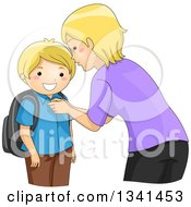 Clipart Of A Blond Caucasian Mother Butting Up Her Sons Shirt While Getting Him Ready For School Royalty Free Vector Illustration