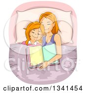 Clipart Of A Red Haired Caucasian Mother And Daughter Asleep After Reading A Bedtime Story Royalty Free Vector Illustration