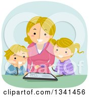 Clipart Of A Cartoon Blond Caucasian Mother Reading An Ebook To Her Children From A Tablet Computer Royalty Free Vector Illustration
