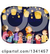 Clipart Of A Group Of Mothers And Children Looking Up Watching Floating Lanterns Royalty Free Vector Illustration