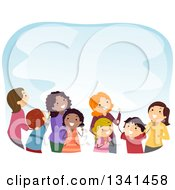 Clipart Of A Group Of Mothers And Children Looking Up Over Blue Royalty Free Vector Illustration