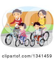 Clipart Of A Happy Caucasian Family Riding Bikes Together Royalty Free Vector Illustration