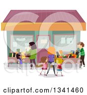 Clipart Of Families Shopping At A Book Store Royalty Free Vector Illustration