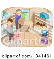 Clipart Of A Happy Caucasian Family Camping And Setting Up In A Cabin Royalty Free Vector Illustration by BNP Design Studio