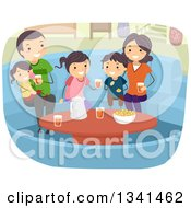 Clipart Of A Happy Caucasian Family With Snaks And Drinks In A Conversation Pit Royalty Free Vector Illustration