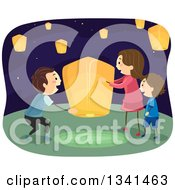 Clipart Of A Happy Caucasian Family Setting Up A Floating Lantern Royalty Free Vector Illustration by BNP Design Studio