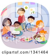 Clipart Of Happy Families Reading Books In A Library Or Class Room Royalty Free Vector Illustration