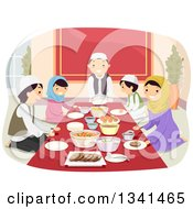 Clipart Of A Happy Muslim Family Eating A Meal Together Royalty Free Vector Illustration by BNP Design Studio