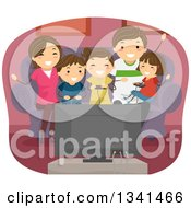 Clipart Of A Happy Caucasian Family Playing Video Games Together Royalty Free Vector Illustration