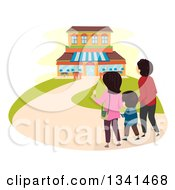 Clipart Of A Rear View Of A Family Walking To A Restaurant Royalty Free Vector Illustration