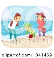 Clipart Of A Happy Caucasian Family Collecting Sea Shells On A Beach Royalty Free Vector Illustration by BNP Design Studio