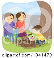 Clipart Of A Caucasian Son And Parents Burying A Time Capsule In Their Yard Royalty Free Vector Illustration