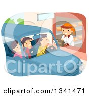 Clipart Of A Caucasian Family Going Through A Restaurant Drive Thru Royalty Free Vector Illustration by BNP Design Studio