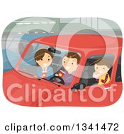 Clipart Of A Caucasian Family Eating Take Out Food In Their Car Royalty Free Vector Illustration by BNP Design Studio