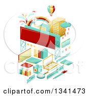 Clipart Of School Items Forming A City With A Hot Air Balloon And Billboards Royalty Free Vector Illustration