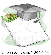 Sketched Student Loan Design With A Graduation Cap And Money On A Document