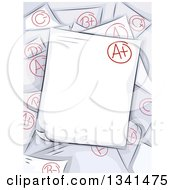Clipart Of Sketched Graded Papers With An A Plus On Top Royalty Free Vector Illustration