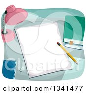 Clipart Of A Desk Lamp Shining On A Piece Of Paper Royalty Free Vector Illustration