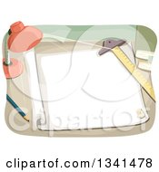 Clipart Of A Desk Lamp Shining On An Architect Sheet And Drafting Tools Royalty Free Vector Illustration