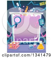 Clipart Of A Container Frame With Robotic Arms Pouring Chemicals Royalty Free Vector Illustration