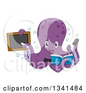 Clipart Of A Cartoon Purple Octopus Teacher Holding A Book And Black Board Royalty Free Vector Illustration