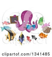 Clipart Of A Cartoon Purple Octopus Teacher Holding A Book And Black Board Encircled With Fish Students Royalty Free Vector Illustration