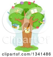 Cartoon Owl In A Tree Hollow With School Supplies In The Canopy