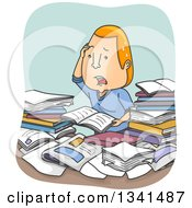 Clipart Of A Cartoon Confused And Stressed Red Haired White Man Going Over Books And Paperwork Royalty Free Vector Illustration