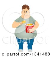 Clipart Of A Fat Brunette White Man Eating Fried Chicken Royalty Free Vector Illustration