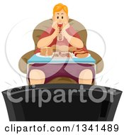Clipart Of A Fat Red Haired White Man Binge Eating In Front Of A Tv Royalty Free Vector Illustration