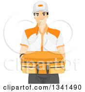 Clipart Of A Friendly Worker Delivering A Suitcase Royalty Free Vector Illustration by BNP Design Studio