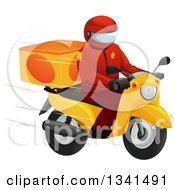 Clipart Of A Fast Food Delivery Driver On A Motorcycle Royalty Free Vector Illustration