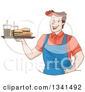 Clipart Of A Sketched Happy White Male Waiter Holding A Tray Of Fast Food Burgers Fries And Sodas Royalty Free Vector Illustration