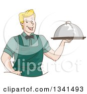 Clipart Of A Sketched Blond White Waitor Serving A Cloche Platter Royalty Free Vector Illustration