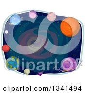 Clipart Of Planets Framing Stars Royalty Free Vector Illustration
