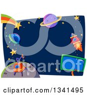 Clipart Of A Ufo Robot Rocket Shooting Star And Planet Frame Royalty Free Vector Illustration