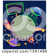 Clipart Of A Ufo Shining Light On A Planet Framed With A Robot Rocket Shooting Star And Sign Royalty Free Vector Illustration