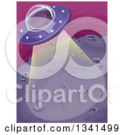 Clipart Of A Purple Ufo Shining A Beam Down On A Planet Royalty Free Vector Illustration by BNP Design Studio