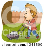 Clipart Of A Cartoon White Man Mowing The Lawn In His Yard Royalty Free Vector Illustration