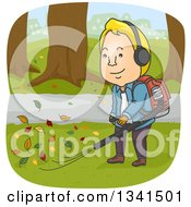 Clipart Of A Cartoon Blond White Man Using A Leaf Blower Royalty Free Vector Illustration