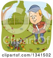 Clipart Of A Cartoon Red Haired White Man Raking Autumn Leaves In His Yard Royalty Free Vector Illustration by BNP Design Studio