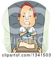 Clipart Of A Cartoon Angry Red Haired White Man Receiving A Late Delivery Royalty Free Vector Illustration