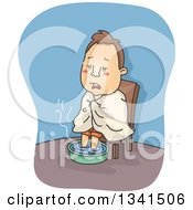 Clipart Of A Cartoon Sick White Man With The Flu Soaking His Feet In Hot Water Royalty Free Vector Illustration by BNP Design Studio